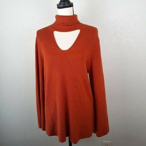 Chicos Knit Choker Pullover Bell Sleeve Sweater